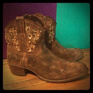 Frye Deborah Studded Ankle Boots Authentic